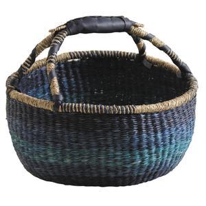 Photo SMA3830 : Panier sahel en jonc teinté bleu