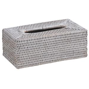 Photo TDI1810 : White painted rattan tissue holder box