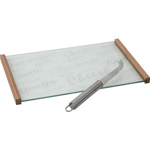 Photo TPF1590V : Glass and bamboo cheese tray with cheese knife