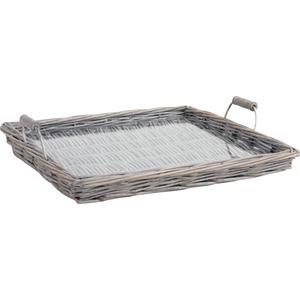 Photo TPL2680V : Grey willow and glass cheese tray