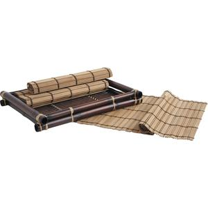 Photo TST160S : Set of 4 bamboo placemats with 1 tray