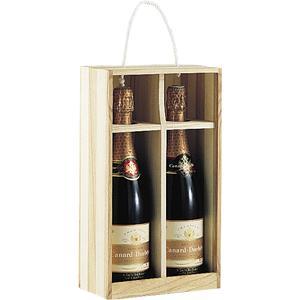 Photo VBO1170 : Coffret ouvert 2 bouteilles en bois