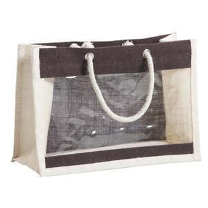 Photo VBO1950 : Sac porte-verrines en jute teintée