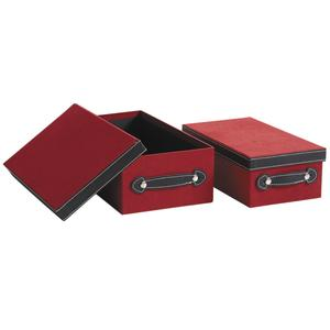 Photo VBT267S : Red and black imitation suede boxes