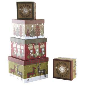 Photo VBT298S : Boites de Noël carrées en carton