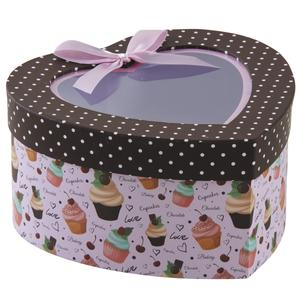 Photo VBT3000 : Cardboard heart box with cupcakes design