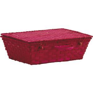 Photo VVA1851 : Valise en bambou teinté rouge