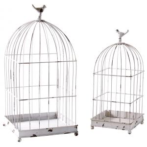 Photo ACA123S : Cages en métal laqué blanc vieilli