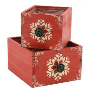 Photo CCO153SP : Red stained wood baskets Snowflakes