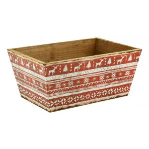 Photo CCO1540 : Rectangular natural wood and varnished paper basket Christmas Red and white