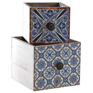 Photo CCO955SP : Corbeilles tiroirs motif mosaïque