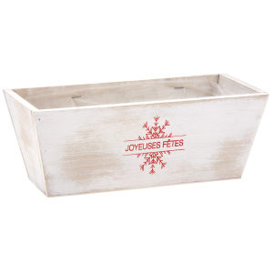 Photo CCO9871P : Rectangular white washed wood basket