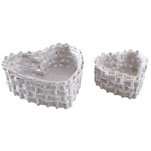 Photo CFA283SP : Set of 2 stained wood baskets