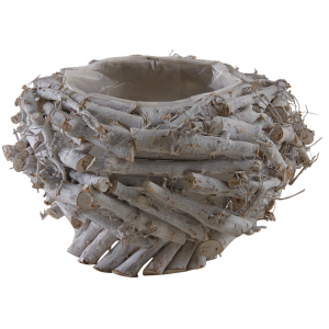 Photo CFL1750P : Round recycled wood basket on legs