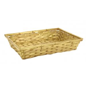 Photo CMA5122 : Gold lacquered bamboo rectangular baskets