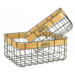 Photo CMA513S : Rectangular metal and wood baskets Atelier des Saveurs