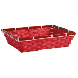 Photo CMA5150 : Red stained bamboo rectangular basket