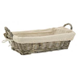 Photo CMA5170J : Grey willow and jute rectangular basket