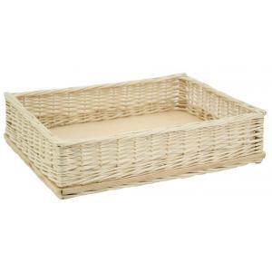 Photo CMA5180 : White willow and wood rectangular basket