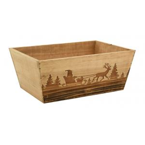 Photo CMA5190 : Burned wood and stained wood rectangular basket Winter