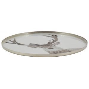 Photo CPL2000 : Assiette cerf en aluminium et résine