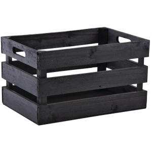 Photo CRA5510 : Black wooden box with hole handles