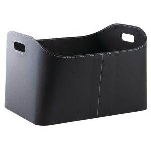 Photo CRA5600 : Black imitation leather log basket