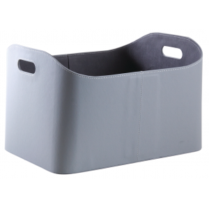 Photo CRA5610 : Grey imitation leather log basket