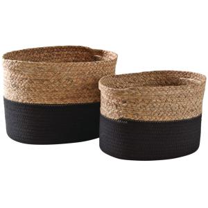 Photo CRA573S : Hyacinth et black cotton baskets
