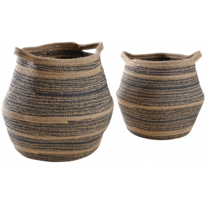 Photo CRA574S : Natural jute and polyester storage baskets