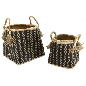 Photo CRA583S : Black and natural seagrass baskets