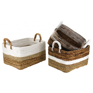 Photo CRA589S : Banana, raffia and seagrass baskets