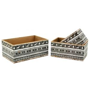 Photo CRA601S : Caisses de rangement en bois et papier verni Christmas