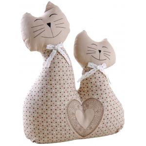 Photo DAN2780 : Cale-porte deux chats en coton et lin