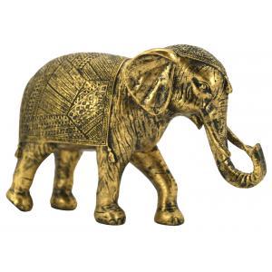 Photo DAN3200 : Éléphant en résine dorée antique