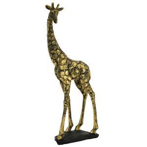 Photo DAN3250 : Girafe en résine dorée antique