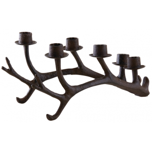 Photo DBO3210 : Cast iron deer antlers candle holder