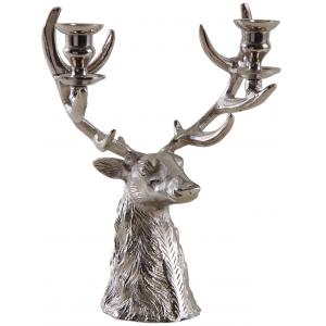 Photo DBO3220 : Bougeoir tête de cerf en aluminium