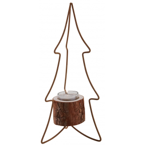 Photo DBO3360V : Wood and metal candle holder