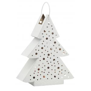 Photo DBO3660 : White lacquered metal lantern Christmas tree