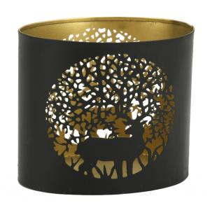 Photo DBO3700 : Oval lacquered metal candle holder Deer