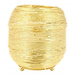 Photo DBO3771 : Gold color metal candle holder