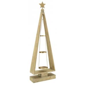Photo DBO3810 : Antic wood and metal candle holder