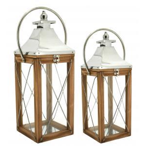 Photo DBO382SV : Metal and wooden lantern