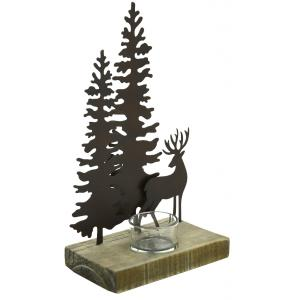 Photo DBO3850V : Wooden and metal Deer and Christmas tree candle holder
