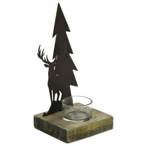 Photo DBO3860V : Metal and wooden deer candle holder