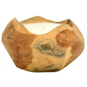 Photo DBO3890 : Natural teak and wax chandle holder