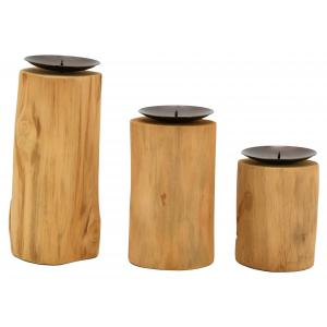 Photo DBO390S : Teak and metal candle holder