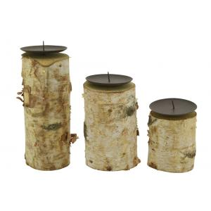 Photo DBO393S : Birch wood and metal candle holders