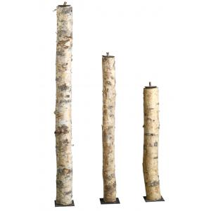 Photo DBO395S : High birch wood and metal candle holders